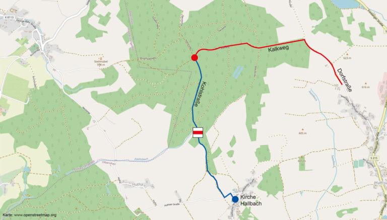 Karte zur Anreise zum Waldgottesdienst im Mittelwald
