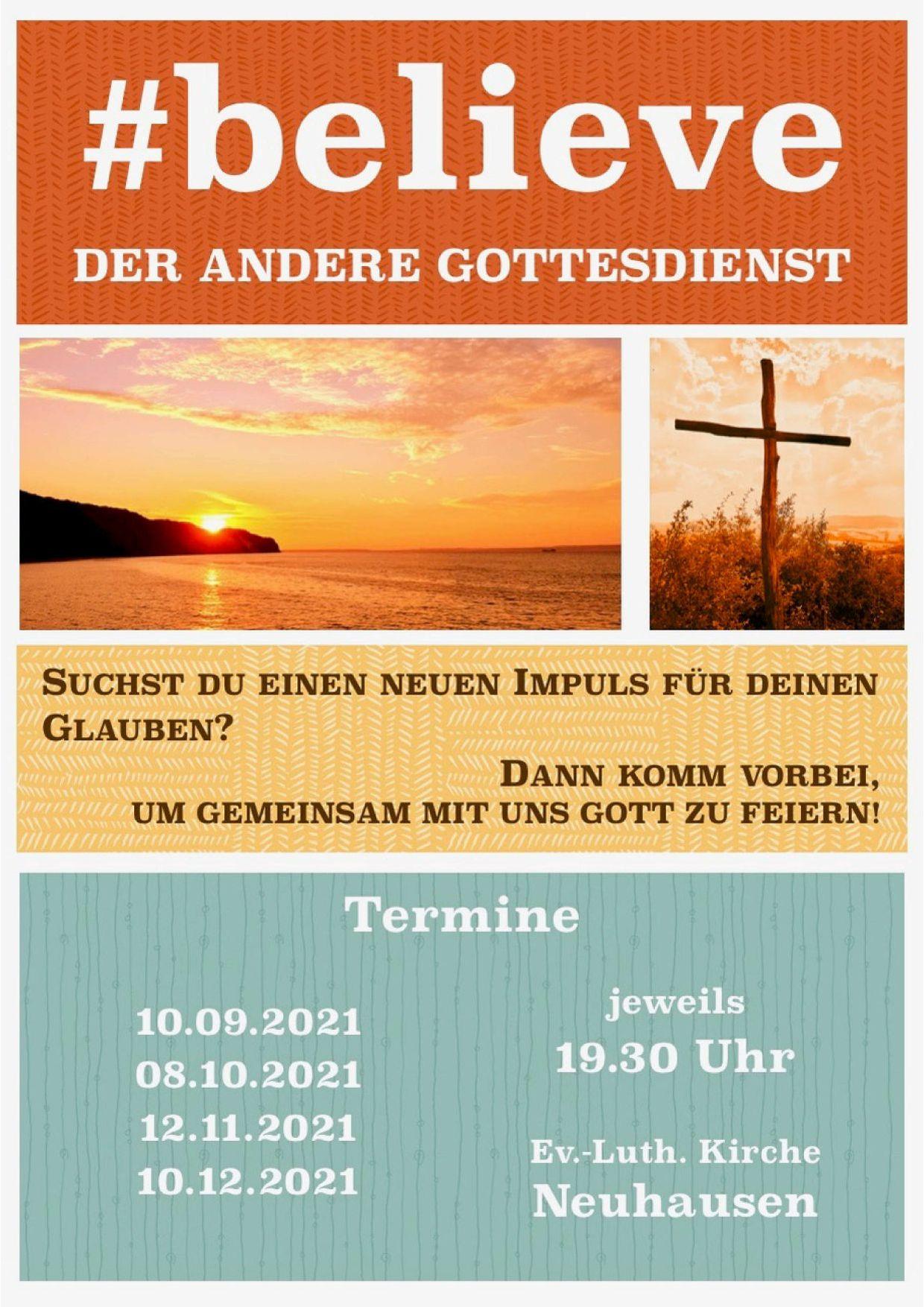 Plakat der #believe-Gottesdienste